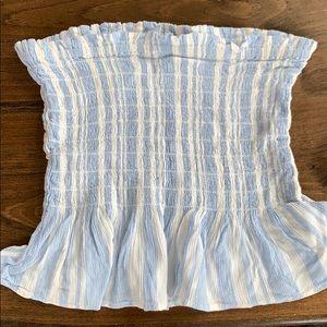 Striped ruffled tube top